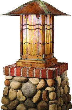 This beautiful column mounted lantern is an exact reproduction of the original at the Gamble House in Pasadena, Ca.   This lantern was built using original drawings as well as having access to the original lantern at the Gamble House.