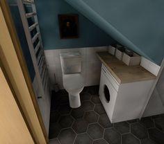 Small blue coloured bathroom