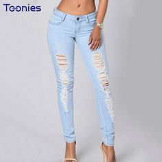 Women Jeans High Waist Jeans Skinny Hole-jeans Long Pants Demin Ripped Pants for Female Puls Sizes 5 Sizes 2 Colors 2017 New