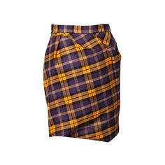 Vivienne Westwood Taxi Yellow and Plum Tartan Skirt (37.615 HUF) ❤ liked on Polyvore featuring skirts, yellow plaid skirt, plum skirt, yellow knee length skirt, vivienne westwood skirt and lined skirt