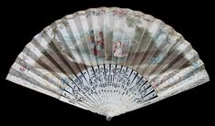 1750  This very large fan is made of beautifully carved and pierced ivory sticks and a single handpainted vellum leaf mounted à l'anglaise. The sticks show 2 gentlemen (the upper guardsticks bear the corresponding ladies), flowers baskets, trees and foliage. The front of the leaf is handpainted with a biblical scene which I presume to depict Abigail and David.