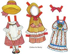 The Ginghams Paper Doll Vintage Outfits (Gingham)