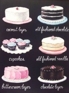 vintage bakery inspired cake cupcakes menu board matted print Large by Everyday is a Holiday Cupcake Torte, Collages D'images, Vintage Bakery, Vintage Food, Vintage Sweets, Bakery Menu, Food Illustrations, Cake Illustration, Cute Cakes
