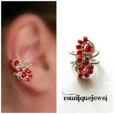 Wire Wrapped Red Ear Cuff Cartilage Earring No by rsuniquejewel, $10.00