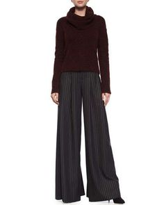 88ad7e85bad -61N4 Alice + Olivia Gavin Cowl-Neck Pullover Sweater   Pinstripe Wide-Leg