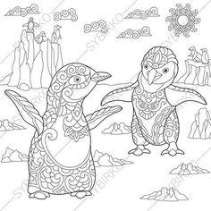 Adult Coloring Pages. Emperor Penguins. Zentangle Doodle