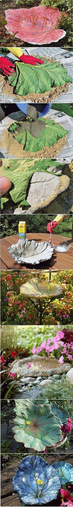 How To Make A Stand Cast Birdbath in Leaf Shape(Diy Garden Projects) Garden Crafts, Garden Projects, Diy Projects, Concrete Leaves, Deco Floral, Outdoor Projects, Dream Garden, Yard Art, Garden Inspiration