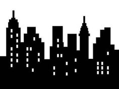 Wallmonkeys Abstract City Silhouette Black on White Isolated Peel and Stick Wall Decals in W x 18 in H) Batman City, Superhero City, Lego Batman, Gotham City, Superhero Room, Batman Birthday, Superhero Birthday Party, Superman Party, Boy Birthday
