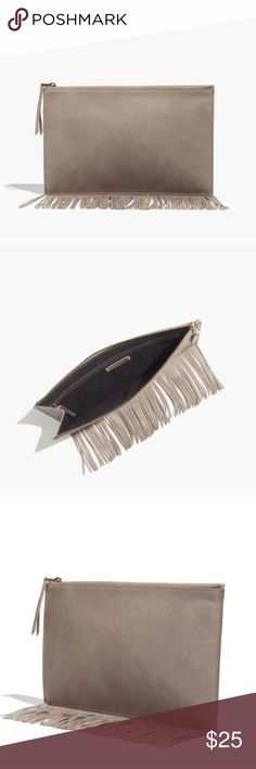 """NWT Madewell Leather Fringe Pouch Clutch Boulder Gorgeous Madewell clutch NWT! Has yellow undertones that I couldn't capture in photos because it's not noticeable. I think this is just part of the dyeing process and it's supposed to look like this. Has a few marks from storage. """"Made of semi vegetable-tanned leather with a softly worn waxed finish that deepens into a distinctive patina. Please note: As it is made of a natural material, each pouch varies slightly in texture and color. Zip…"""