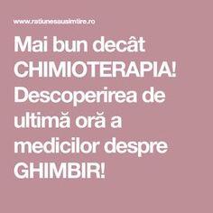 Mai bun decât CHIMIOTERAPIA! Descoperirea de ultimă oră a medicilor despre GHIMBIR! Mai, The Cure, Cancer, Health, Plant, Health Care, Salud