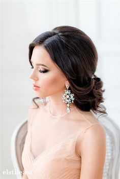 losse low wedding updos and peach tulle dress