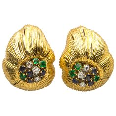 Oscar Heyman Sapphire Emerald Diamond Gold Earrings   From a unique collection of vintage clip-on earrings at https://www.1stdibs.com/jewelry/earrings/clip-on-earrings/