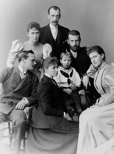 Princess Henry of Prussia with her son in the center Prince Waldemar, her sisters Princess Alix of Hesse and Grand Duchess Elisabeth Feodorovna. Ella's husband Grand Duke Serge Alexandrovich, his brother-in-law Ernest Louis, Grand Duke of Hesse and Grand Duke Paul Alexandrovich, his younger brother, 1894.