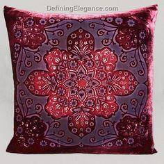 The distinctive motif and vibrant colors of this collection of decorative pillows from Kevin O'Brien Stuido pay homage to the Moroccan style of decorating.