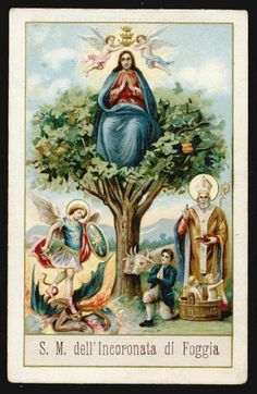 Vintage holy card: Most Holy Mary Crowned One of the Poor with SS. Michael the Archangel and Nicholas
