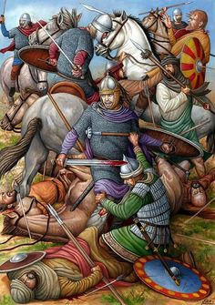 Death of the Visigoth King of Spain Rodrigo at the Battle of Guadalete 711 AD