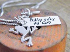 FROG necklace fully rely on God sterling silver by PureRoxFaith