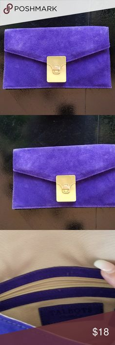 Talbots Purple Suede Envelope Bag. New New without tags Purple Suede with heavy  Gold closure . Cream fabric interior. Measures approx 9.5 inches wide and 5.5 inches in height. There are a dew minor escapes not deep scratches just on small turning piece of closure. Talbots Bags Clutches & Wristlets