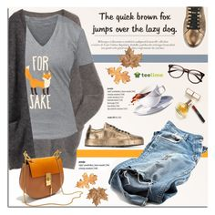 """""""For fox sake!"""" by teelime ❤ liked on Polyvore featuring Maryam Keyhani, Jil Sander, Chloé, funny, casual, Tshirt, graphictshirt and teelime"""