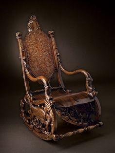 Кресло качалка 18 в. Барокко | Резьба по дереву, кости и камню