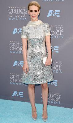 Sarah Paulson, in a dress by Naeem Khan, at the 21st Annual Critics' Choice Awards (Photo: Jordan Strauss/Invision, via Associated Press)