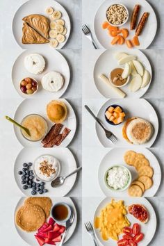 Toddler Meals 78968 10 Toddler Breakfast Ideas - a photo of 10 different breakfast ideas all on white plates with a white background - click photo for full written recipes Healthy Toddler Meals, Healthy Breakfast Recipes, Eat Healthy, Vegetarian Breakfast, Easy Toddler Snacks, Toddler Menu, Toddler Friendly Meals, Healthy Breakfasts, Toddler Meal Plans