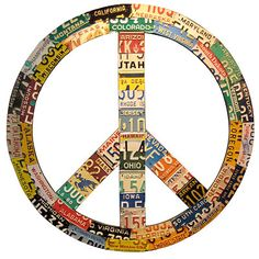 RECYCLED LICENSE PLATE PEACE SIGN  $1900.00