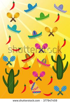 Set of Mexican pictures on the background of mountains and sun - stock vector