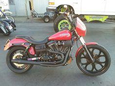 "Dyna: 120"" engine, 7 speed ( Yes, 7!) transmission, 23"" front rim.  My friend Hightower's bike."