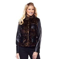 A by Adrienne Landau Faux Fur Jacket with Trim