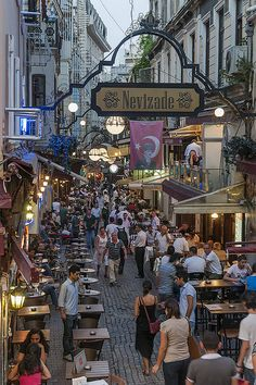 Istanbul-Nevizade Sokak is one of the best places in the world for a boisterous evening meal and people-watching. Boncuk is a great choice on this street. Stick to the fish and seafood here; it's outstanding, whereas other menu items were fairly ordinary. Places Around The World, Oh The Places You'll Go, Places To Travel, Places To Visit, Around The Worlds, Istanbul Travel, Istanbul Hotels, Turkey Travel, Night Life