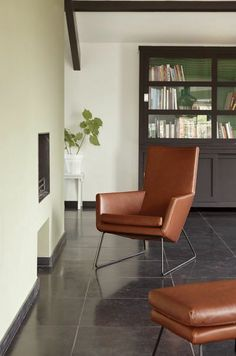 Easy chair Don in Taurus leather Brown-Red