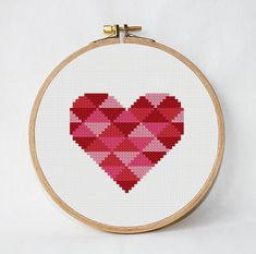 Geometric Heart Cross Stitch Heart Pattern от AnimalsCrossStitch