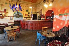 Crazy colors and mismatched furniture are de rigueur at Insomnia Cafe in Cluj-Napoca, Romania