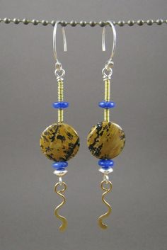 Wire Work Earrings/Wire Wrapped Earrings/Blue by something2magpie