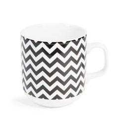 Mug motif zigzag en porcelaine BLACK & WHITE