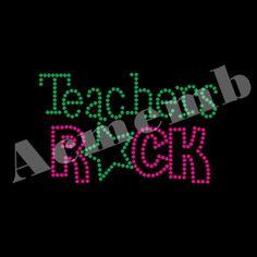 Wholesale Teachers Rocks Rhinestone Transfer Iron On For T-shirts