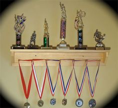 This was super easy to make and it holds all of Austin's medals! Trophy and Medal Shelf