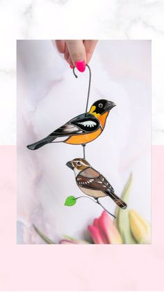 Custom Stained Glass, Stained Glass Birds, Window Hanging, Diy Wall Decor, Design, Flowers, Diy Decorating
