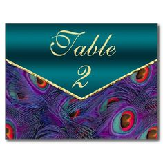 Teal Plum Peacock Table Number Card Post Card