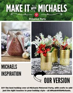 #MadeWithMichaels DIY Glittered Mason Jar Vases Michaels Holiday Pinterest Party