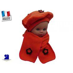 475fb31a5c8c Un béret et une écharpe en polaire pour réchauffer bébé 3 fleurs découpées  et cousues main