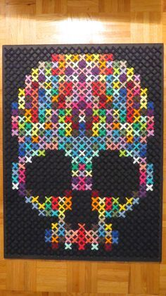Rainbow Cross stitch: Giant Rainbow Skull *That would be an interesting quilt! Not really into skulls anymore, though.