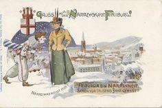 Narrenstadt Freiburg - Postkarte mit einem Gruss aus der Narrenstadt Freiburg. Zeit der Postkarte ist leider nicht bekannt. Vielen Dank an die Sammlung Oehler   /*  */