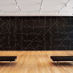 Installation view of Sol LeWitt's Wall Drawing #260 at The Museum of Modern Art, 2008. Sol LeWitt. Wall Drawing #260. 1975. Chalk on painted wall, dimensions variable. Gift of an anonymous donor.© 2008 Sol LeWitt/Artists Rights Society (ARS), New York. Photo © Jason Mandella