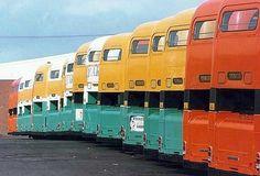 A line of Glasgow buses. Bus Coach, Busses, Cartography, Coaches, Glasgow, Crochet Ideas, 1980s, Scotland, Transportation