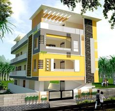 Best 12 Home Design Plan With 3 Bedrooms – Sam Phoas Homesearch – SkillOfKing. House Outer Design, House Front Wall Design, House Outside Design, Unique House Design, House Design Photos, 3 Storey House Design, Two Story House Design, Bungalow House Design, Le Riad