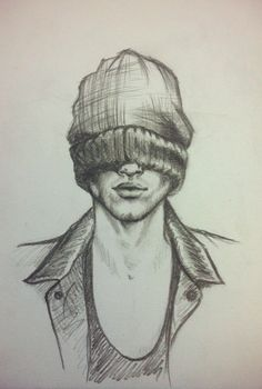 мужчина, шапка, скетч, простой карандаш