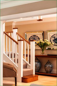 The Chiltern Staircase - softwood white primed staircase with two quarter landings leading to the first floor with a return balustrade. Timber Handrail, Stair Spindles, Banisters, Newel Posts, Glass Panels, Stairs, Flooring, Staircases, Interior Design