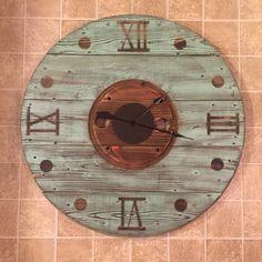 we can offer you Wooden Cable Spools, Wood Spool, Diy Clock, Clock Decor, Huge Wall Clock, Wood Clocks, Rustic Clocks, Pallet Clock, Tick Tock Clock